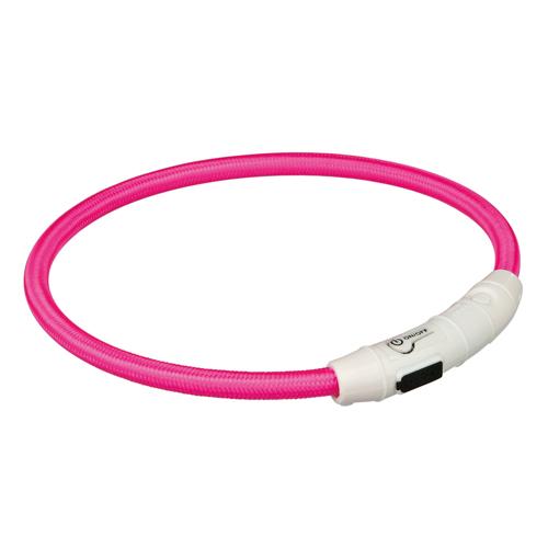 Nylon Lyshalsbånd med USB, ø 7 mm, pink